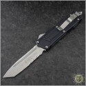 (#179-11s) Microtech Stripped Scarab T/E (Tanto) Stonewash Partially Serrated - Front