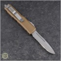 (#231-11TA) Microtech Tan UTX-85 S/E Stonewash Part Serrated - Back