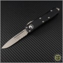(#231-11) Microtech UTX-85 S/E Stonewash Part Serrated - Front
