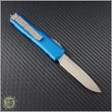 (#231-13BL) Microtech UTX-85 S/E Bronze Plain w/ Blue Handle - Back