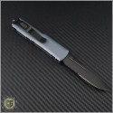 (#231-2DLCGY) Microtech Gray UTX-85 S/E Black DLC Part Serrated - Back