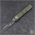 (#231-2OD) Microtech OD Green UTX-85 S/E Black Part Serrated - Front