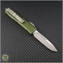 (#231-4OD) Microtech UTX-85 S/E Satin Plain w. OD Green Handle - Back