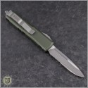 (#231-5OD) Microtech OD Green UTX-85 S/E Satin Part Serrated - Back