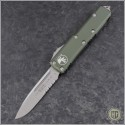 (#231-5OD) Microtech OD Green UTX-85 S/E Satin Part Serrated - Front