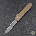 (#231-5TA) Microtech Tan UTX-85 S/E Satin Serrated - Front