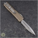 (#232-11TA) Microtech Tan UTX-85 Stonewash Partially Serrated - Back
