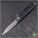(#232-11) Microtech UTX-85 Stonewash Partially Serrated - Front