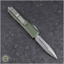 (#232-5OD) Microtech UTX-85 D/E Satin Part Serrated w/ OD Green Handle - Back