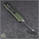 (#233-1OD) Microtech UTX-85 T/E Black Plain w/ OD Green Handle - Back