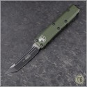 (#233-1OD) Microtech UTX-85 T/E Black Plain w/ OD Green Handle - Front