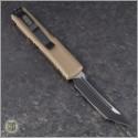(#233-1TA) Microtech UTX-85 T/E Black Plain w/ Tan Handle - Back