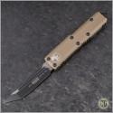 (#233-1TA) Microtech UTX-85 T/E Black Plain w/ Tan Handle - Front