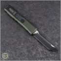 (#233-2OD) Microtech UTX-85 T/E Black Partially Serrated w/ OD Green Handle - Back