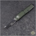(#233-2OD) Microtech UTX-85 T/E Black Partially Serrated w/ OD Green Handle - Front