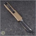 (#233-2TA) Microtech UTX-85 T/E Black Partially Serrated w/ Tan Handle - Back