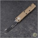 (#233-2TA) Microtech UTX-85 T/E Black Partially Serrated w/ Tan Handle - Front