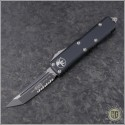(#233-2) Microtech UTX-85 T/E Black Partially Serrated - Front