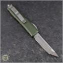 (#233-4OD) Microtech UTX-85 T/E Satin Plain w/ OD Green Handle - Back