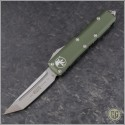 (#233-4OD) Microtech UTX-85 T/E Satin Plain w/ OD Green Handle - Front