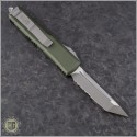 (#233-5OD) Microtech UTX-85 T/E Satin Partially Serrated w/ OD Green Handle - Back