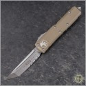 (#233-5TA) Microtech UTX-85 T/E Satin Partially Serrated w/ Tan Handle - Front