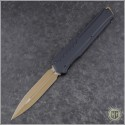 (#242M-1TNBK) Microtech Cypher MK7 D/E Tan Blade & Black Hardware with Tan Chip - Front