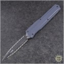 (#242M-D3GY) Microtech Grey Cypher MK7 D/E Black Tactical Full Serrated - Front