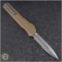 (#242S-11TA) Microtech Cypher D/E Partially Serrated w/ Tan Handle - Back