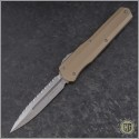 (#242S-12TA) Microtech Cypher D/E Fully Serrated w/ Tan Handle - Front