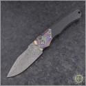 (#HTK-H000-VF-M) Heretic Knives Wraith Auto Multi-color Damtanium Vegas Forge Damascus - Front