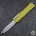 (#HTK-H014-2A-GR) Heretic Knives Cleric OTF Clip Point Stonewash w/ Green Handle - Front