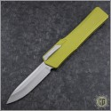(#HTK-H014-2A-TA) Heretic Knives Cleric OTF Clip Point Stonewash w/ Tan Handle - Front