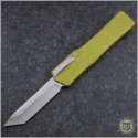 (#HTK-H015-2A-GR) Heretic Knives Cleric OTF Tanto Stonewash w/ Green Handle - Front