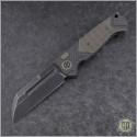 (#HTK-H034-4A-BR) Heretic Knives Auto Butcher Black Plain - CF Handle w/ Bronzed Ti - Front