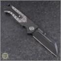 (#HTK-H034-4A-Satin) Heretic Knives Prototype Auto Butcher Black Plain - CF Handle w/ Satin Ti - Back