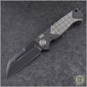 (#HTK-H034-4A-Satin) Heretic Knives Prototype Auto Butcher Black Plain - CF Handle w/ Satin Ti - Front