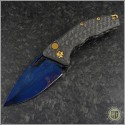 (#HTK-MAR-BDS) Heretic Knives Carbon Fiber Auto Martyr w/ Blued Damascus - Front