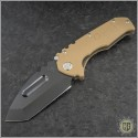 (#MKT-PRAP-CO) Medford Knife & Tool Praetorian P - Tanto Black PVD Blade, Full G-10 Coyote Handle - Front