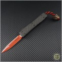 (#MTC-0226) Microtech Custom Ultratech LV Red D/E Fully Serrated CF Top w/ LV Bead - Front