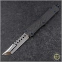 (#MTC-0286) Marfione Custom Combat Troodon Hellhound Tanto Mirror Polish w/ CF top and button - Back