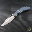 (#OLA-Way-02) Olamic Wayfarer 247 Satin Plain w/ carved back bar and Blue/Gold theme - Front
