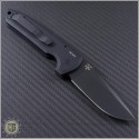 (#PT-LG203) Protech Les George Rockeye 3.375 Black Partially Serrated - Textured Handle - Back