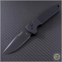 (#PT-LG203) Protech Les George Rockeye 3.375 Black Partially Serrated - Textured Handle - Front