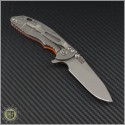 "(#RH-XM1830-3) Rick Hinderer XM-18 3"" Slicer - Orange Scale - Back"
