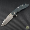 "(#RH-XM1835-35) Rick Hinderer XM-18 3.5"" Harpoon Spanto - Black/Green - Front"
