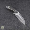 (#SBW-LF-CF) Skelton Bladeworks Littlefinger Takefu White Paper Damascus - B&W CF Handle - Back