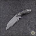 (#SBW-LF-CF) Skelton Bladeworks Littlefinger Takefu White Paper Damascus - B&W CF Handle - Front