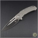 (#SCB445ST) Steelcraft Bodega Grey Ti Handle w/ Scalloped G10, Plain Fluted 2-Tone Black Blade with Satin Flats - Front