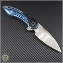 (#STC-001) Todd Begg Custom Glimpse Blue Ti Handle w/ Mircata, Non-Fluted Satin Blade - Back